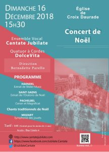 Concert de Noël du dimanche 16 décembre 2018 à 15h30 en l'Eglise de Croix-Daurade à Toulouse