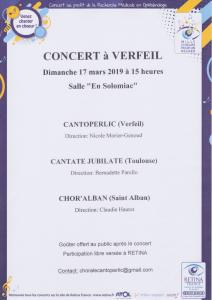 Participation au concert au profit de l'association Retina France, le dimanche 17 mars à 15h, à Verfeil