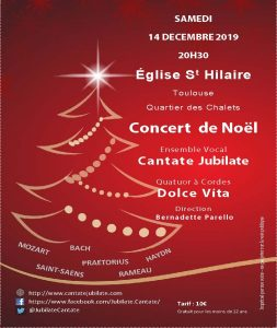Concert de Noël à L'Eglise Saint-Hilaire (Quartier des Chalets à Toulouse) le 14 décembre 2019 à 20h30